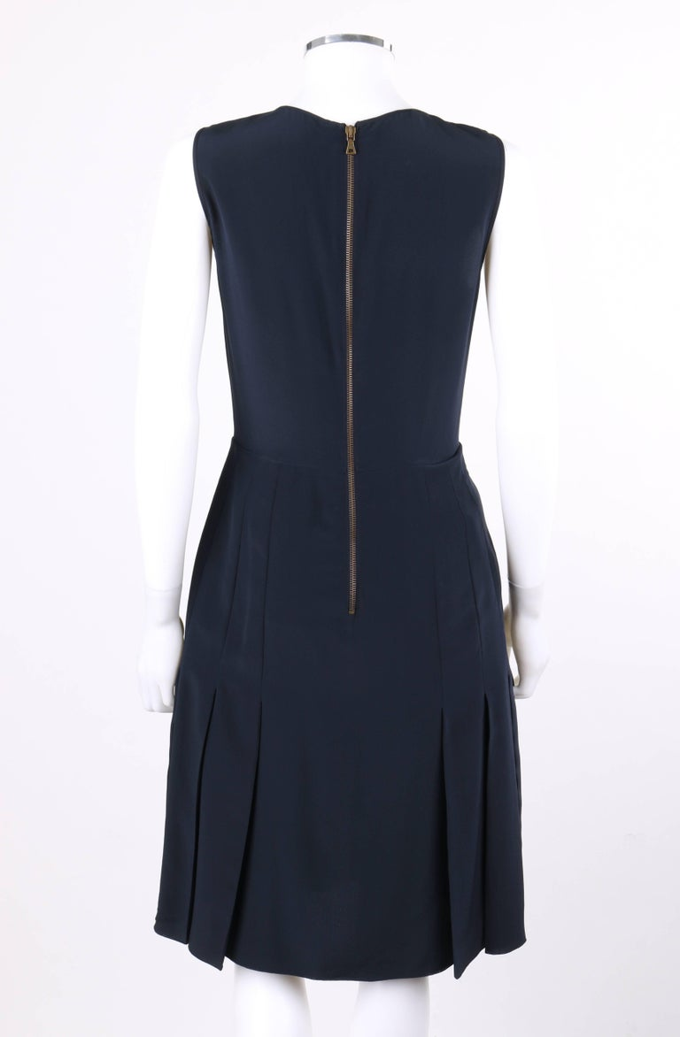 PRADA Navy Blue Silk Sleeveless Pleated Shift Cocktail Dress In Excellent Condition For Sale In Thiensville, WI