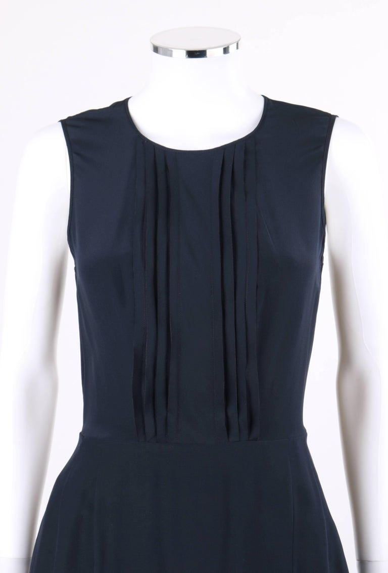 PRADA Navy Blue Silk Sleeveless Pleated Shift Cocktail Dress For Sale 1