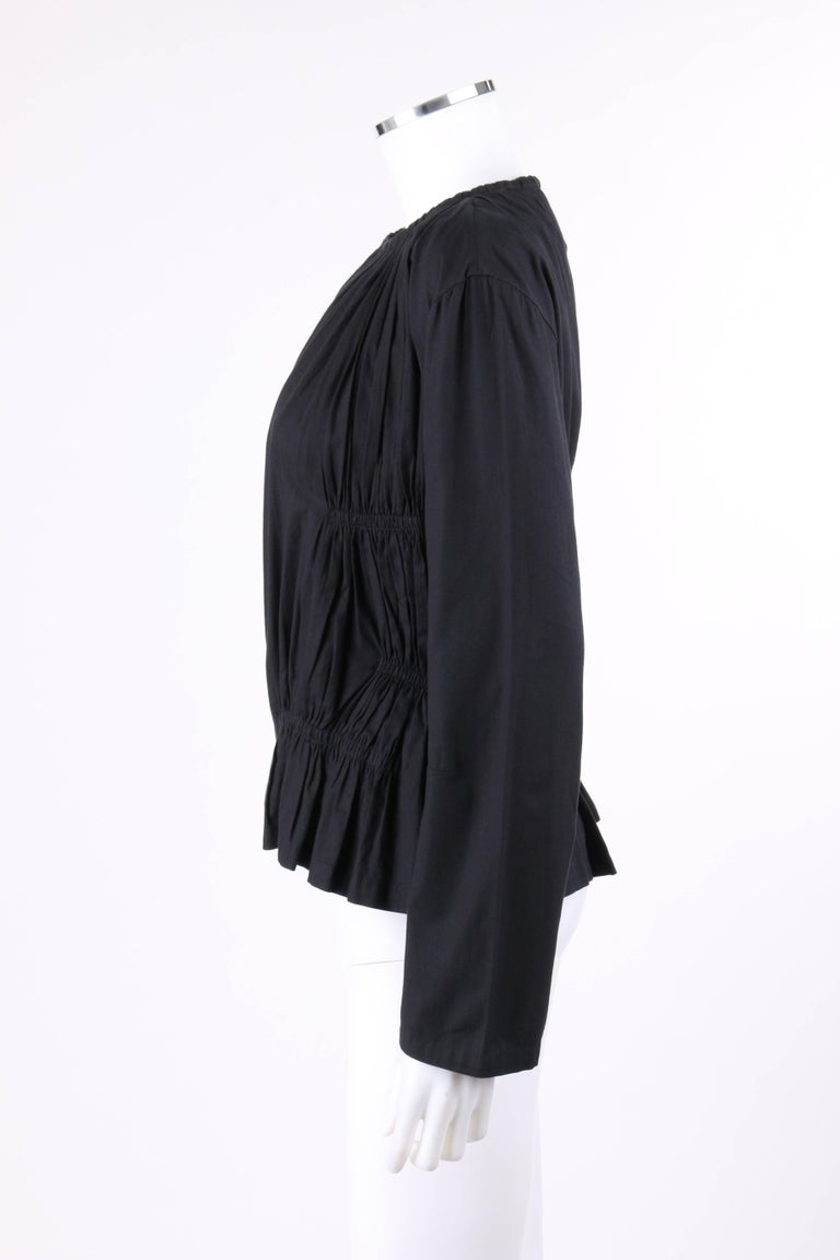 ISSEY MIYAKE Black Gathered Detail Zip Front Jacket For Sale 1