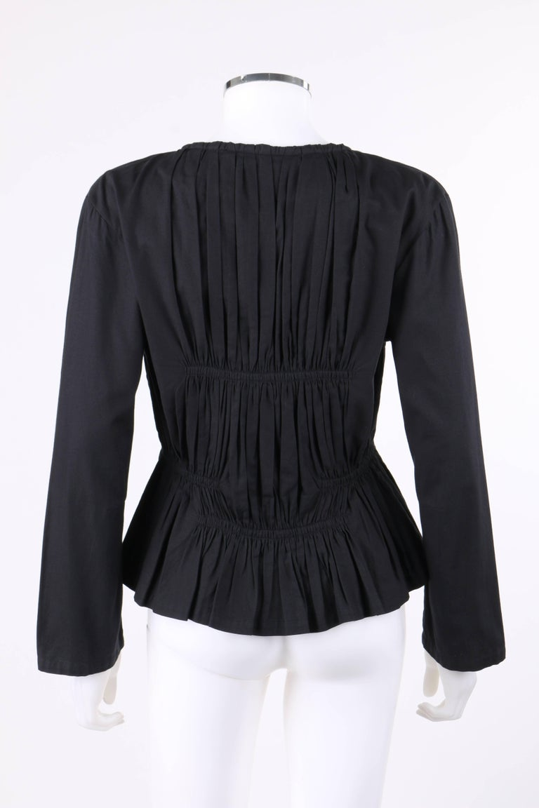 Women's ISSEY MIYAKE Black Gathered Detail Zip Front Jacket For Sale