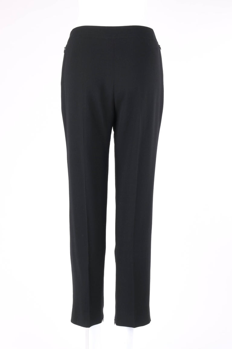 Women's CHANEL S/S 2003 Classic Black Wool Slim Cut Cropped Pants Trousers For Sale