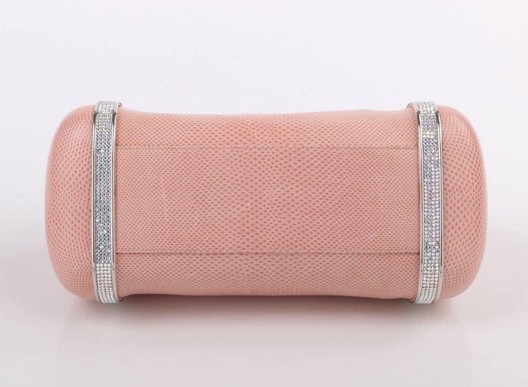 Judith Leiber C.1990s Pink Lizard Leather & Crystal Rhinestone Baguette Purse l5EtewGN