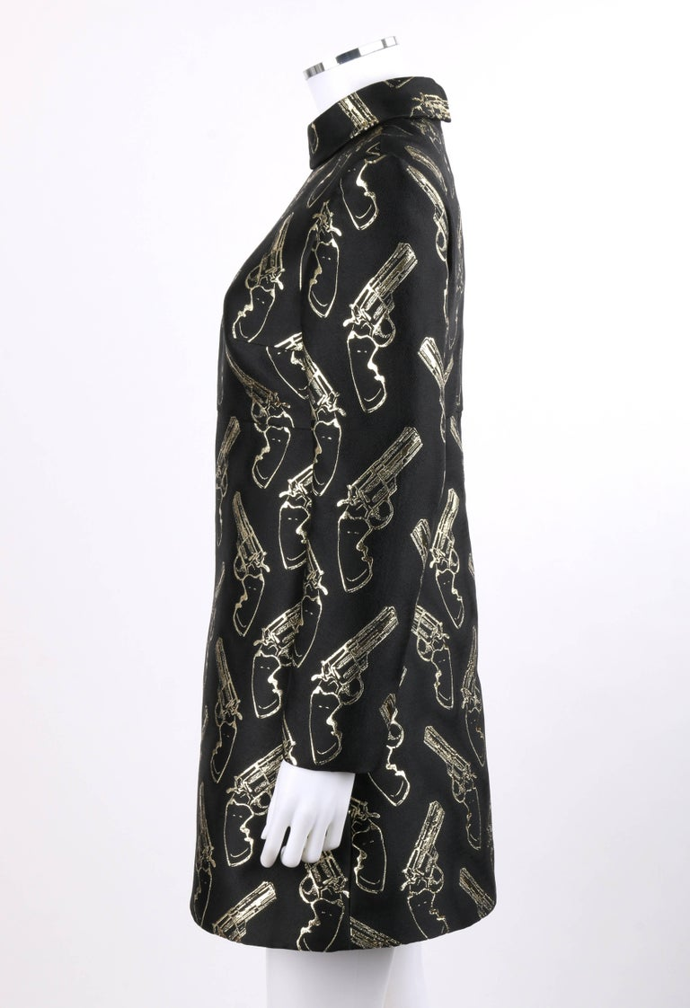 SAINT LAURENT A/W 2014 Black & Metallic Gold Gun Print Mini Shift Dress NWT For Sale 1