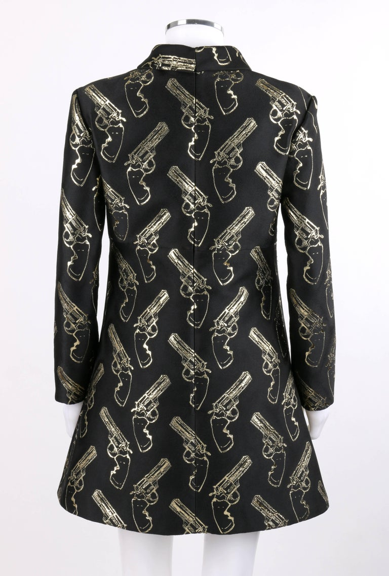 Women's SAINT LAURENT A/W 2014 Black & Metallic Gold Gun Print Mini Shift Dress NWT For Sale