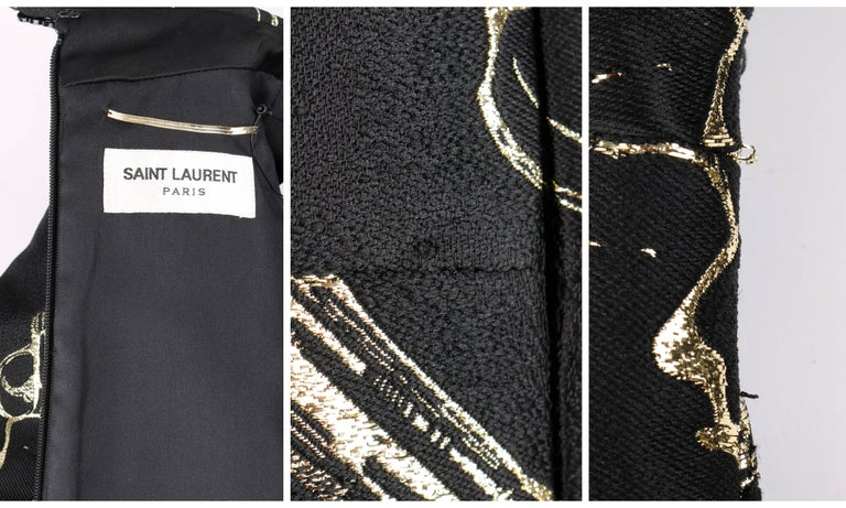 SAINT LAURENT A/W 2014 Black & Metallic Gold Gun Print Mini Shift Dress NWT For Sale 4