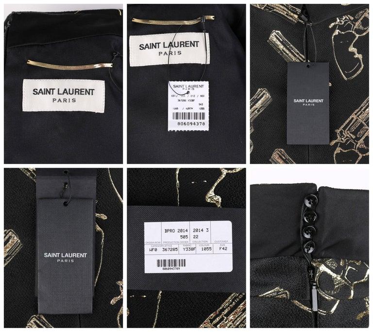 SAINT LAURENT A/W 2014 Black & Metallic Gold Gun Print Mini Shift Dress NWT For Sale 3