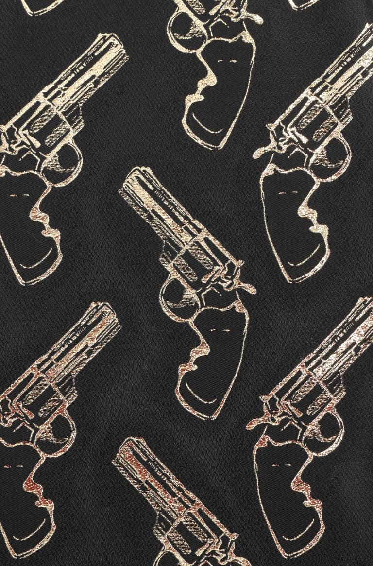 SAINT LAURENT A/W 2014 Black & Metallic Gold Gun Print Mini Shift Dress NWT For Sale 2