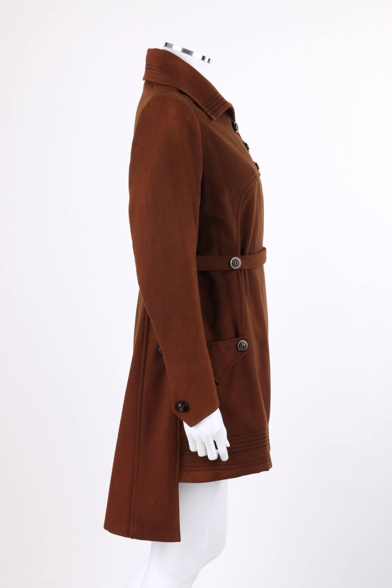 COUTURE c.1910's Edwardian WWI Brown Wool Belted Military Belted Walking Coat In Excellent Condition For Sale In Thiensville, WI