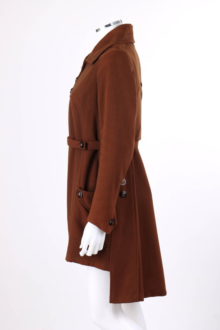 COUTURE c.1910's Edwardian WWI Brown Wool Belted Military Belted Walking Coat For Sale 1