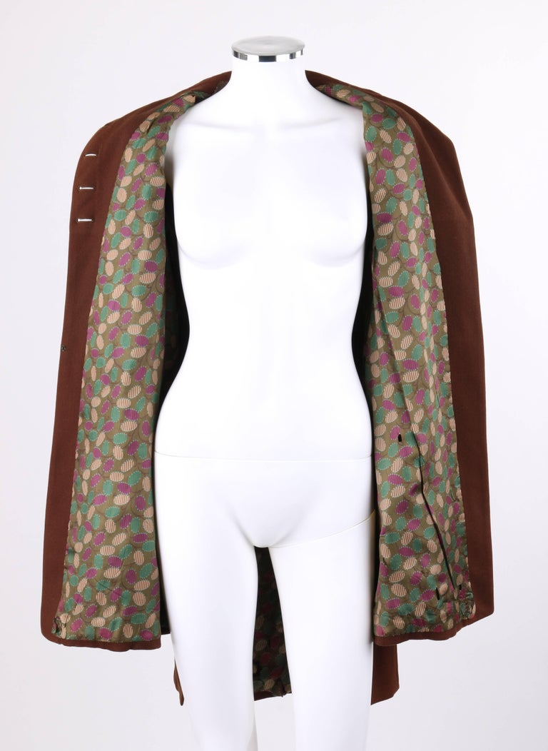 COUTURE c.1910's Edwardian WWI Brown Wool Belted Military Belted Walking Coat For Sale 2
