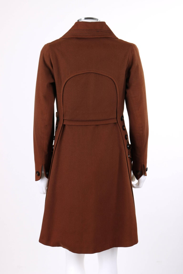 Women's COUTURE c.1910's Edwardian WWI Brown Wool Belted Military Belted Walking Coat For Sale