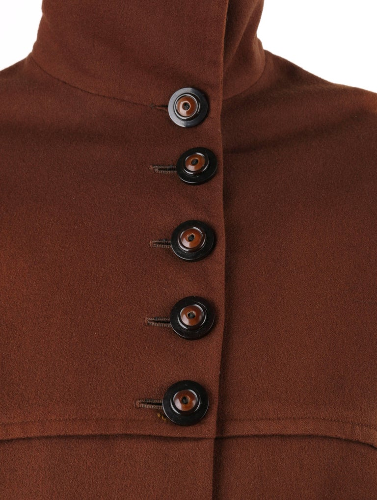 COUTURE c.1910's Edwardian WWI Brown Wool Belted Military Belted Walking Coat For Sale 3
