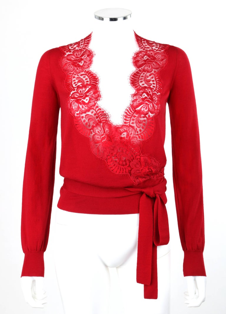 DOLCE and GABBANA Red Knit Scalloped Floral Lace Wrap Cardigan ...