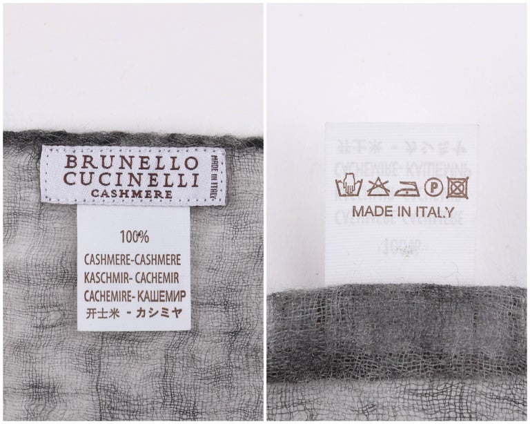Brunello Cucinelli 100% Cashmere Gray Raw Rolled Edge Large Oblong Wrap Scarf For Sale 3