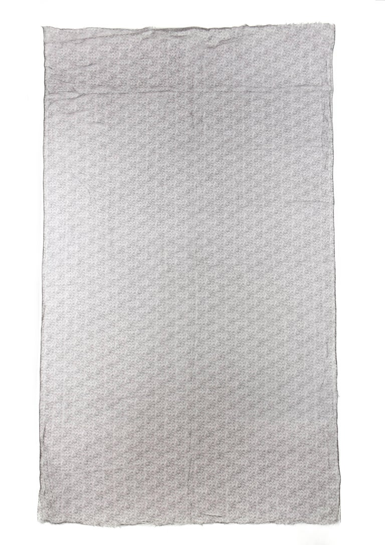 Women's or Men's Brunello Cucinelli 100% Cashmere Gray Raw Rolled Edge Large Oblong Wrap Scarf For Sale