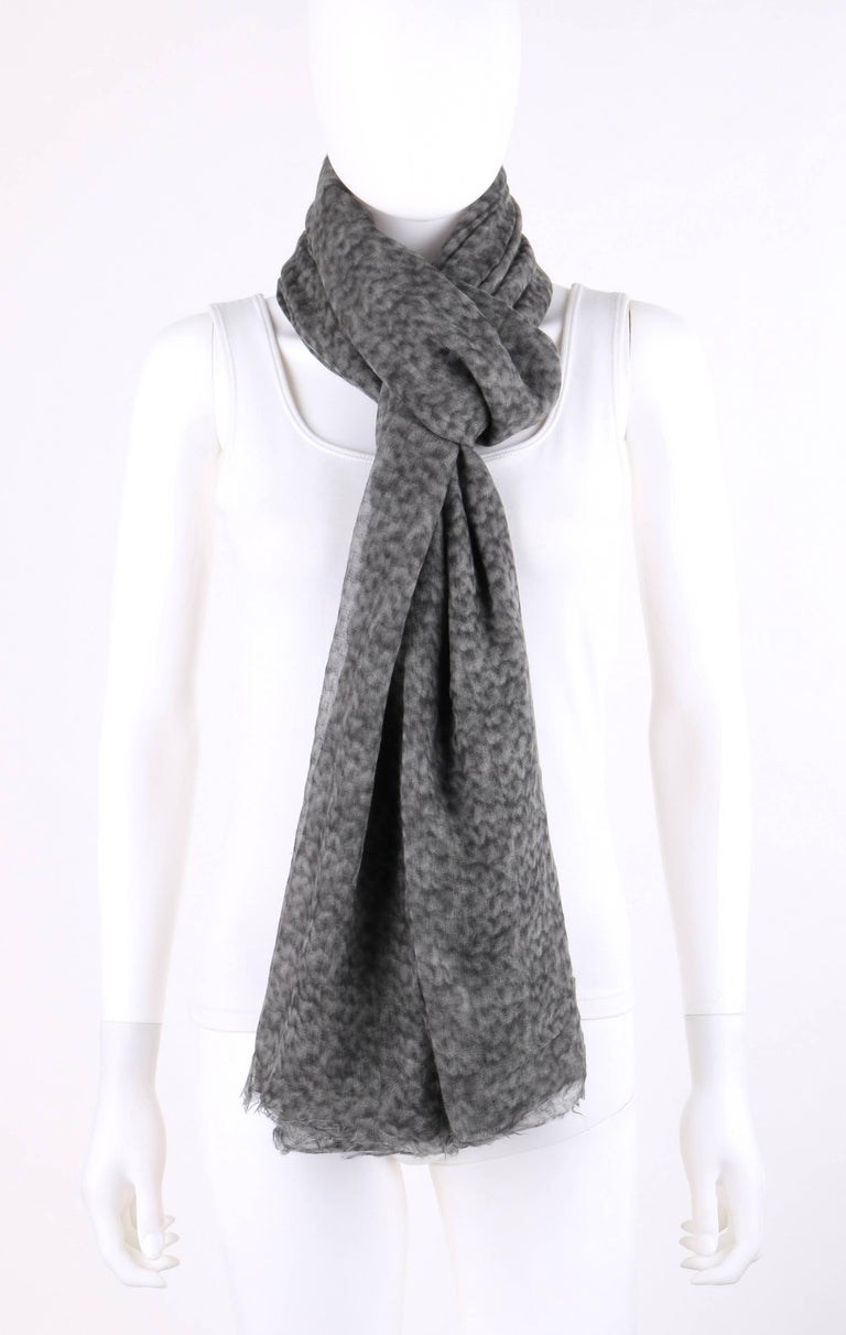 Brunello Cucinelli 100% Cashmere Gray Raw Rolled Edge Large Oblong Wrap Scarf In Excellent Condition For Sale In Thiensville, WI