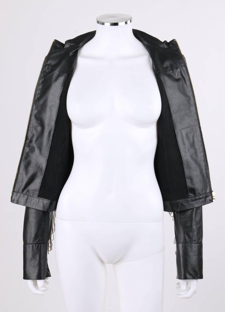 FENDI Black Leather Silver & Gold Metal Chain Fringe Moto Mandarin Collar Jacket For Sale 3