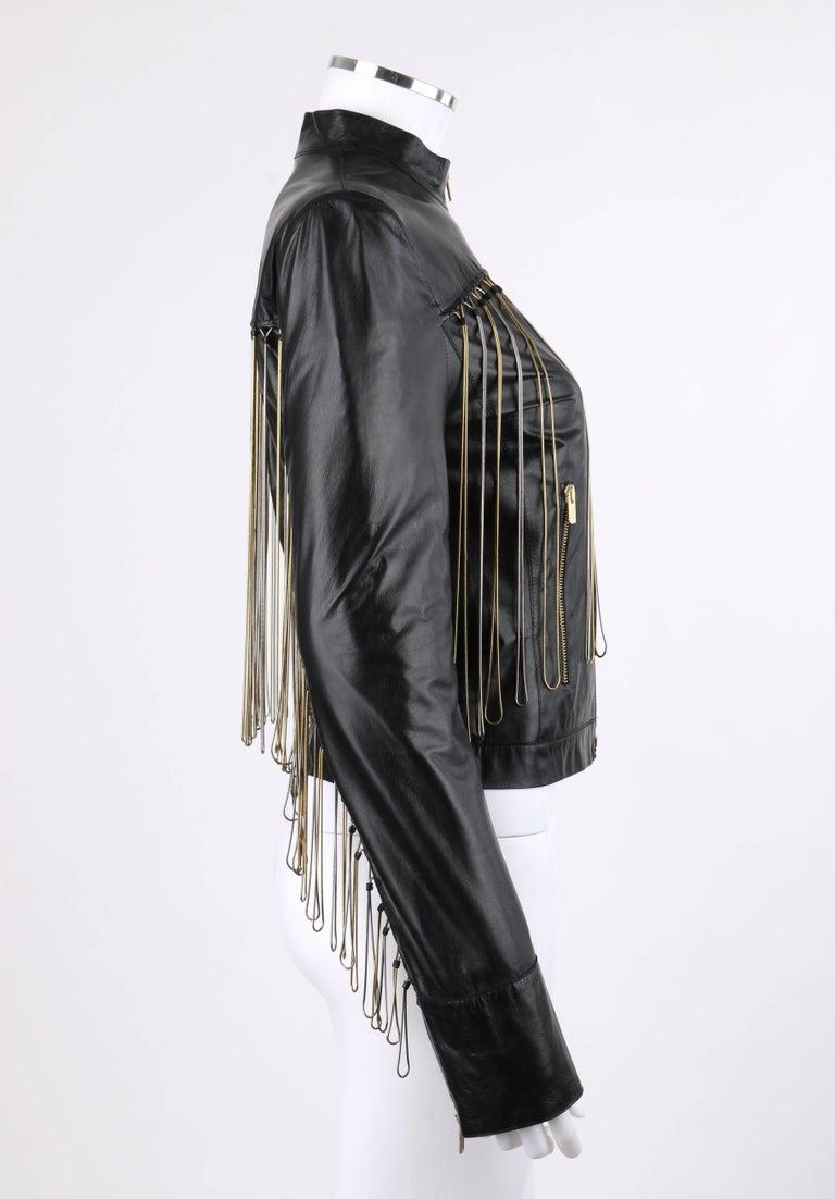 48650f0a FENDI Black Leather Silver & Gold Metal Chain Fringe Moto Mandarin Collar  Jacket