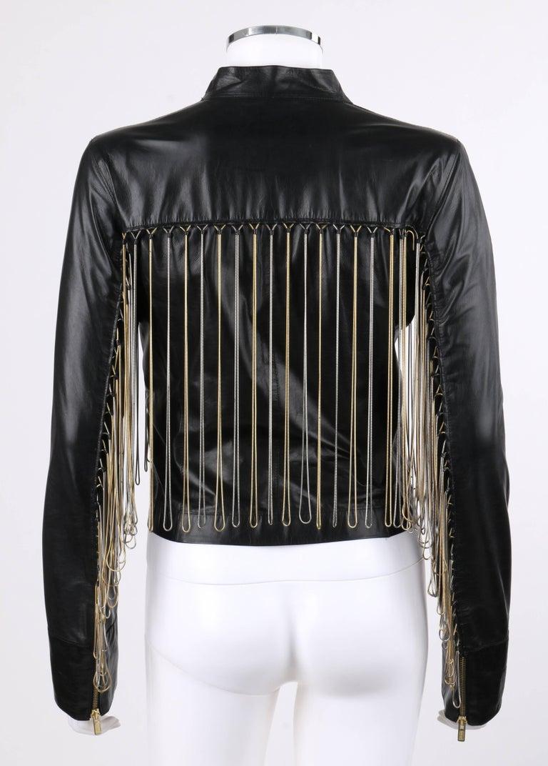 FENDI Black Leather Silver & Gold Metal Chain Fringe Moto Mandarin Collar Jacket For Sale 1