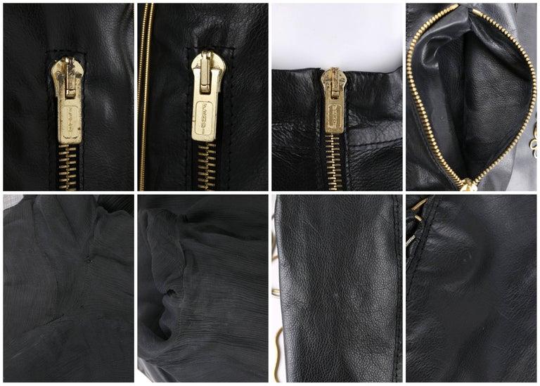 FENDI Black Leather Silver & Gold Metal Chain Fringe Moto Mandarin Collar Jacket For Sale 6