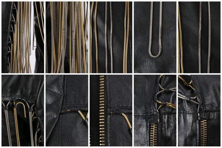 FENDI Black Leather Silver & Gold Metal Chain Fringe Moto Mandarin Collar Jacket For Sale 5