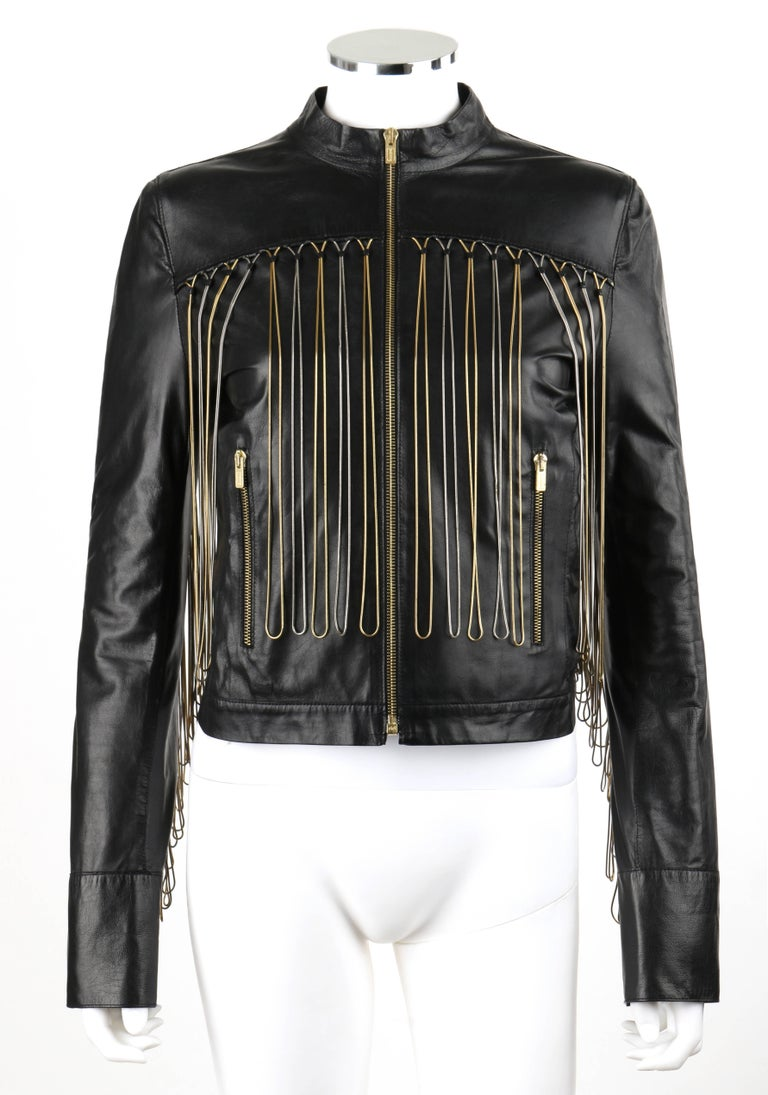 FENDI Black Leather Silver & Gold Metal Chain Fringe Moto Mandarin Collar Jacket In Excellent Condition For Sale In Thiensville, WI