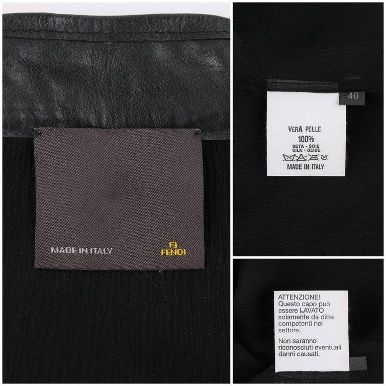 FENDI Black Leather Silver & Gold Metal Chain Fringe Moto Mandarin Collar Jacket For Sale 4