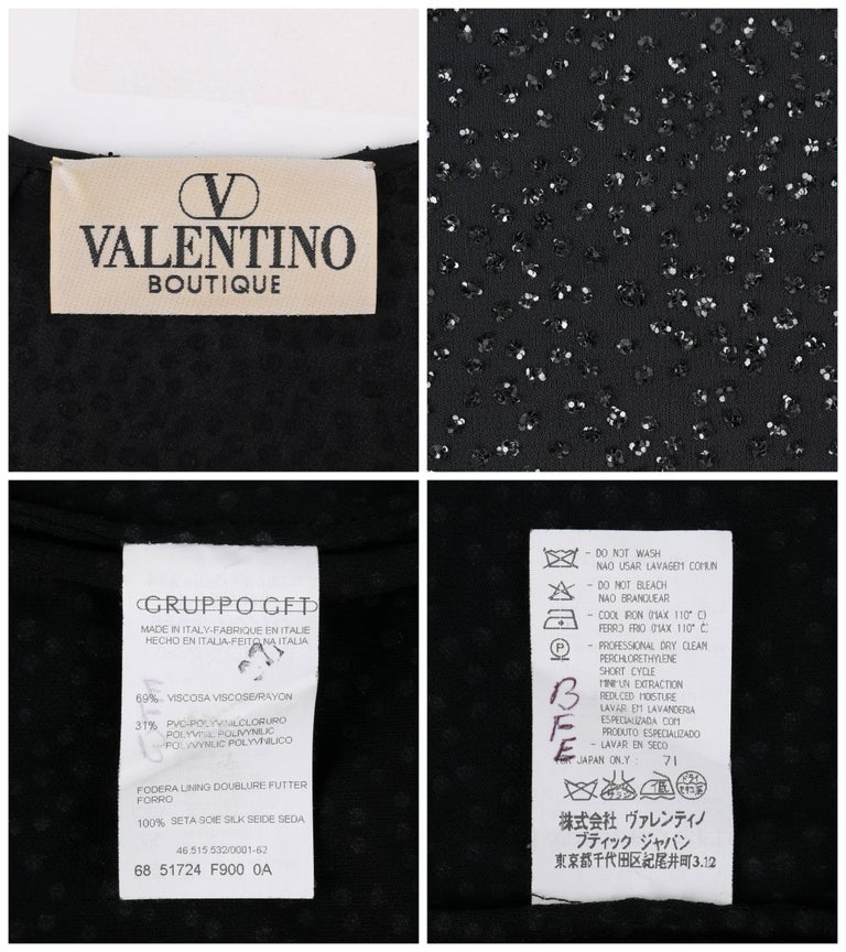 VALENTINO Boutique A/W 2000 Black Metallic Sequin Knit Scoop Neck Top For Sale 2