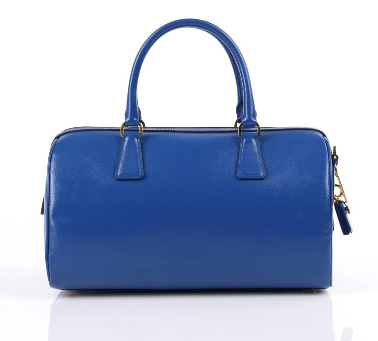 Women's PRADA S/S 2012 Blue Saffiano Vernice Patent Leather Convertible Boston Bag Purse For Sale