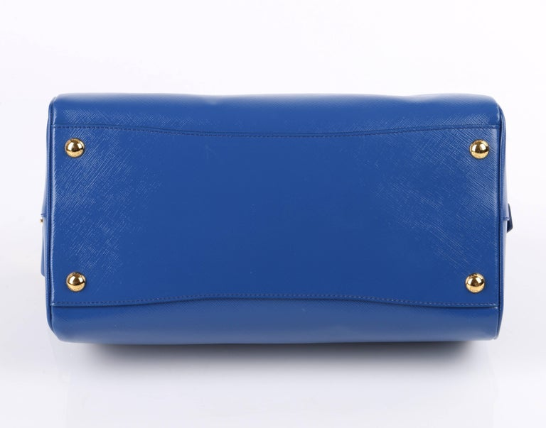 PRADA S/S 2012 Blue Saffiano Vernice Patent Leather Convertible Boston Bag Purse For Sale 3