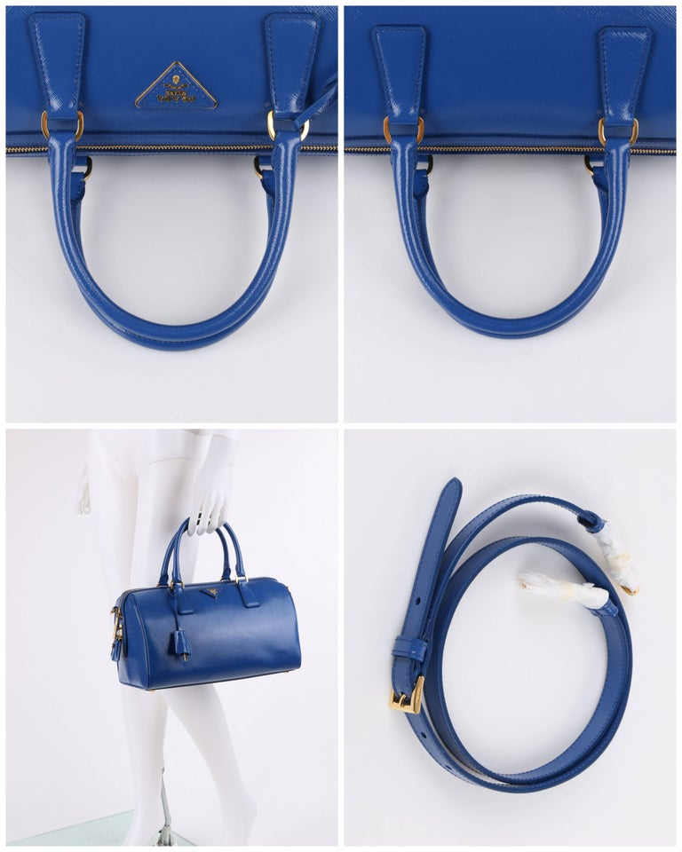 PRADA S/S 2012 Blue Saffiano Vernice Patent Leather Convertible Boston Bag Purse For Sale 4