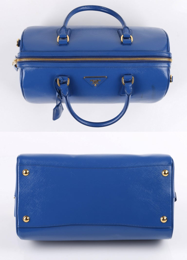 PRADA S/S 2012 Blue Saffiano Vernice Patent Leather Convertible Boston Bag Purse For Sale 1