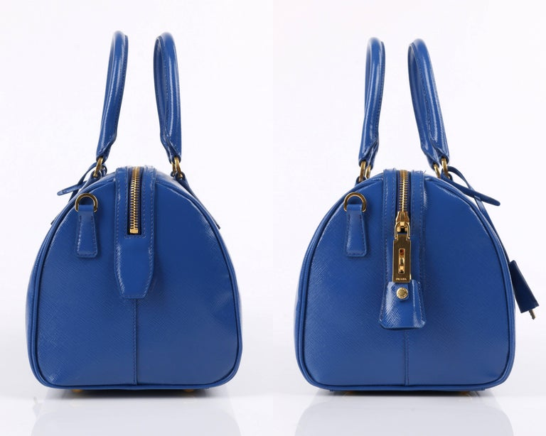 PRADA S/S 2012 Blue Saffiano Vernice Patent Leather Convertible Boston Bag Purse In Excellent Condition For Sale In Thiensville, WI