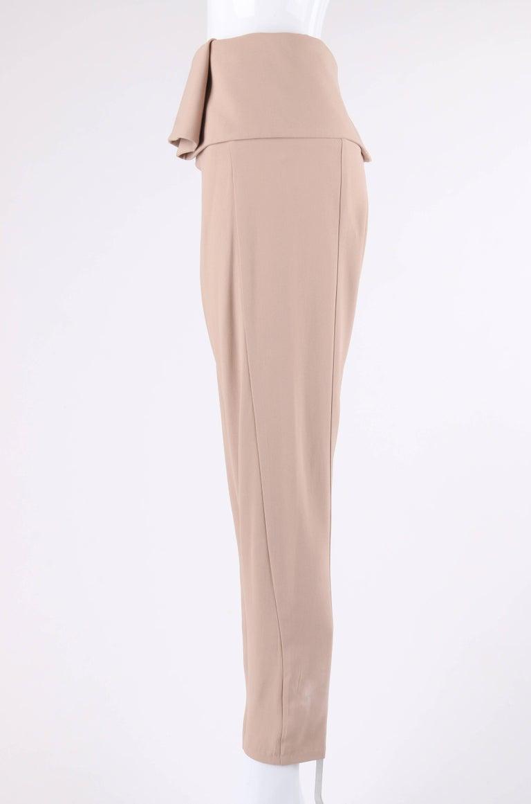 Women's ALEXANDER McQUEEN Resort 2011 Khaki Crepe Fold Over Cropped Harem Pants For Sale
