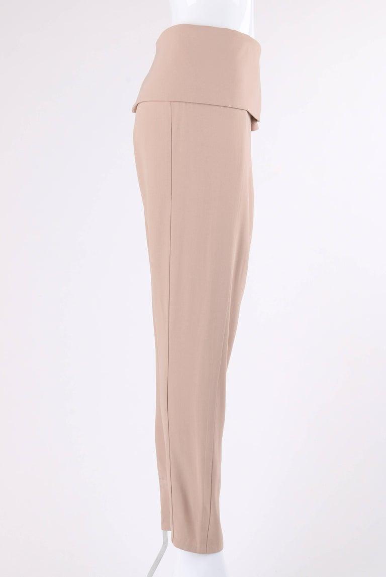 Beige ALEXANDER McQUEEN Resort 2011 Khaki Crepe Fold Over Cropped Harem Pants For Sale