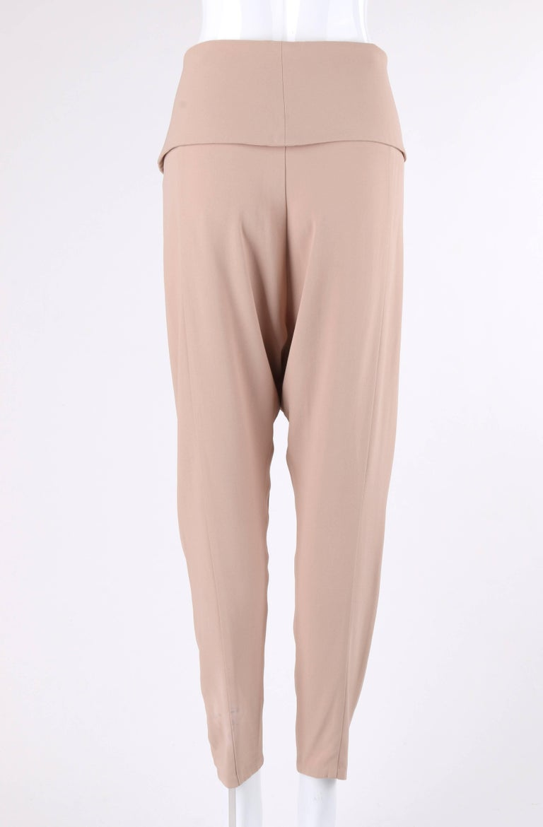 ALEXANDER McQUEEN Resort 2011 Khaki Crepe Fold Over Cropped Harem Pants In Excellent Condition For Sale In Thiensville, WI