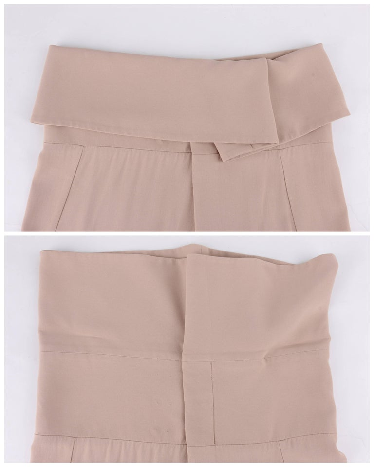 ALEXANDER McQUEEN Resort 2011 Khaki Crepe Fold Over Cropped Harem Pants For Sale 1