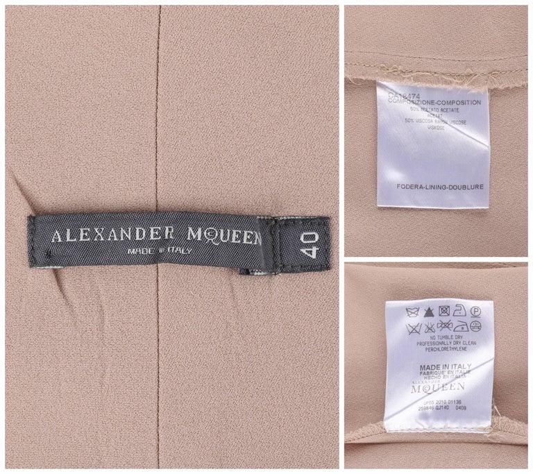ALEXANDER McQUEEN Resort 2011 Khaki Crepe Fold Over Cropped Harem Pants For Sale 3