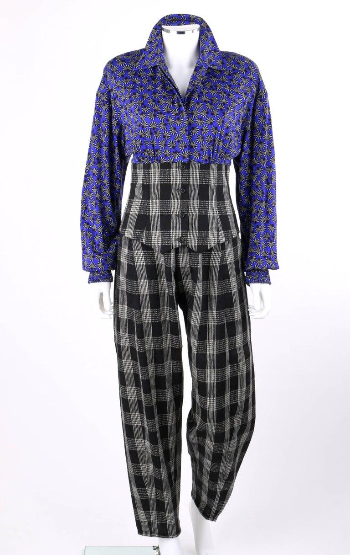 Black KOOS VAN DEN AKKER c. 1980's 4 Pc Patchwork Blouse Skirt Pants Suit Set w/ Shawl For Sale