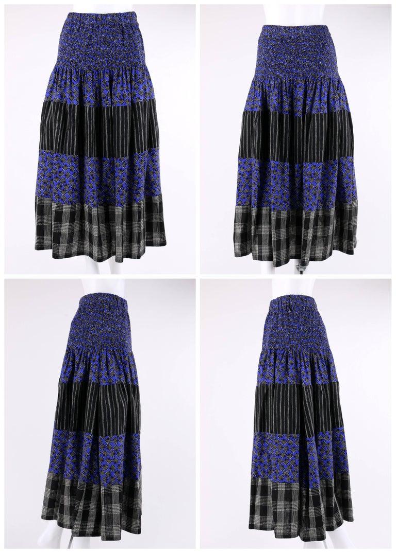 Women's KOOS VAN DEN AKKER c. 1980's 4 Pc Patchwork Blouse Skirt Pants Suit Set w/ Shawl For Sale