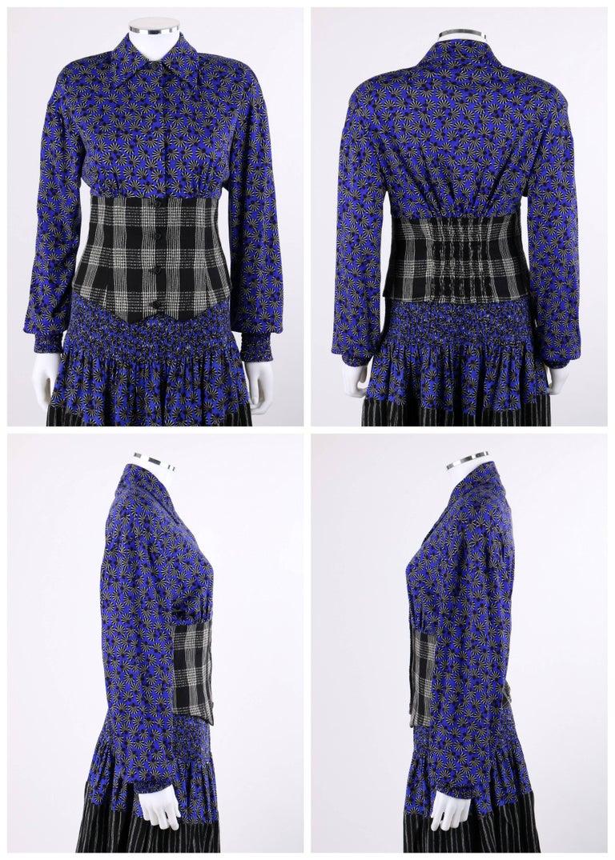 KOOS VAN DEN AKKER c. 1980's 4 Pc Patchwork Blouse Skirt Pants Suit Set w/ Shawl In Excellent Condition For Sale In Thiensville, WI