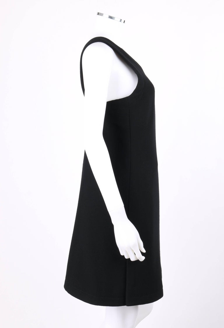 239856d70a8 JEAN PATOU c.1960 s Haute Couture Numbered Black Wool V Neck Jumper Dress  In Excellent