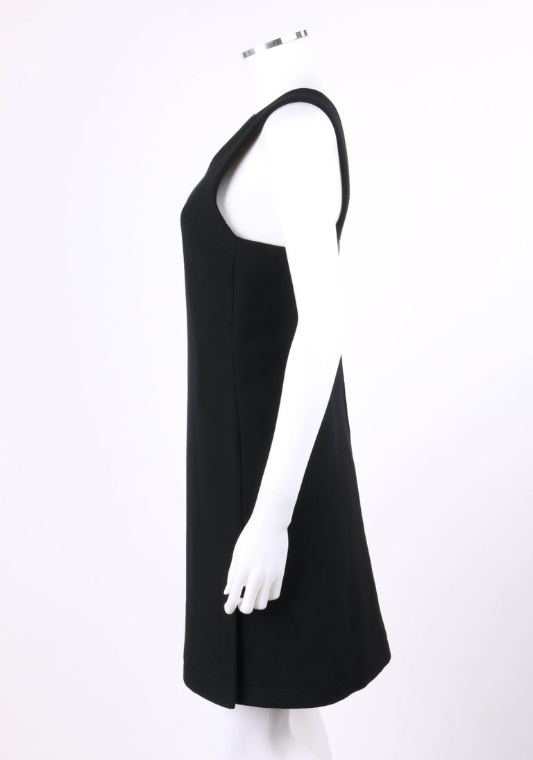 76f3e521565 JEAN PATOU c.1960 s Haute Couture Numbered Black Wool V Neck Jumper Dress  For Sale