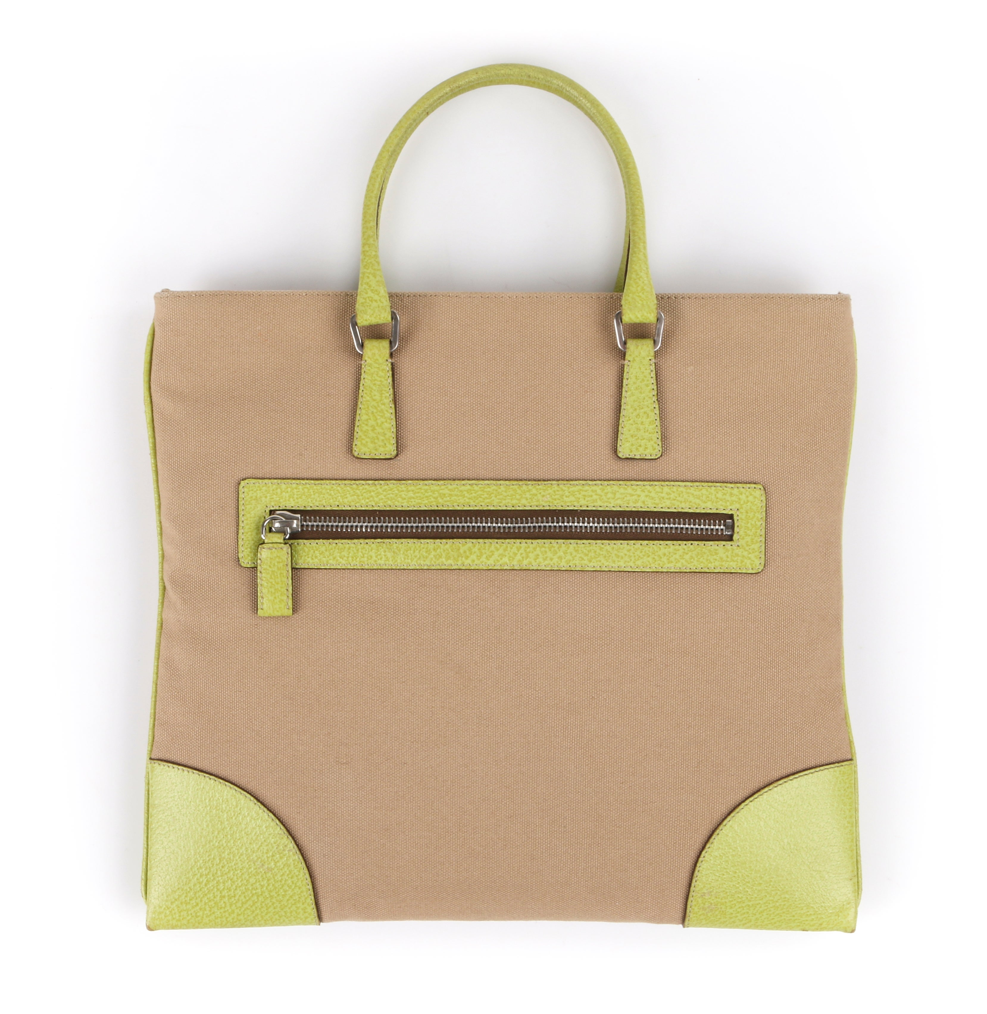 dd447337144c PRADA Khaki Canapa Canvas and Chartreuse Green Leather Tote Bag Purse For  Sale at 1stdibs