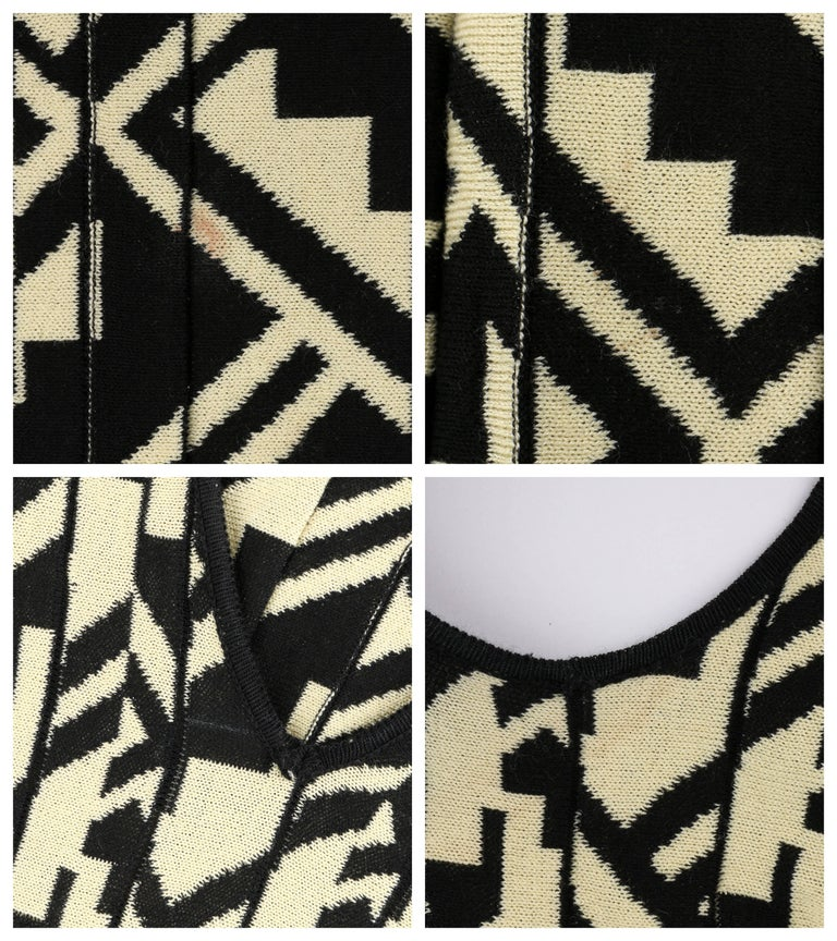 ETRO Black & Soft Yellow Geometric Knit Drop Waist Pleated Cocktail Dress NWT For Sale 2
