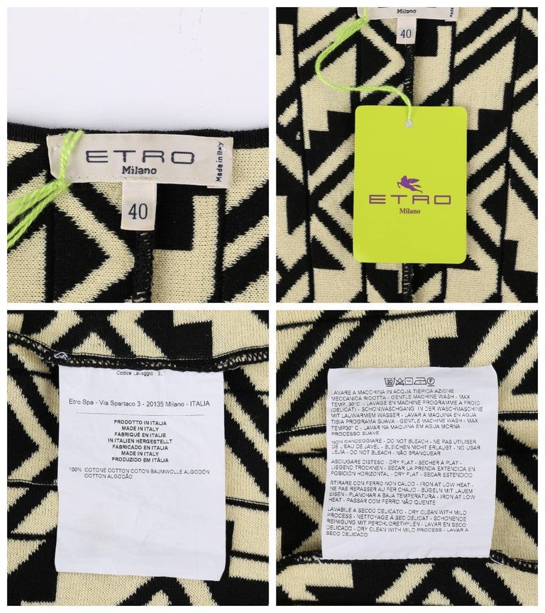 ETRO Black & Soft Yellow Geometric Knit Drop Waist Pleated Cocktail Dress NWT For Sale 3