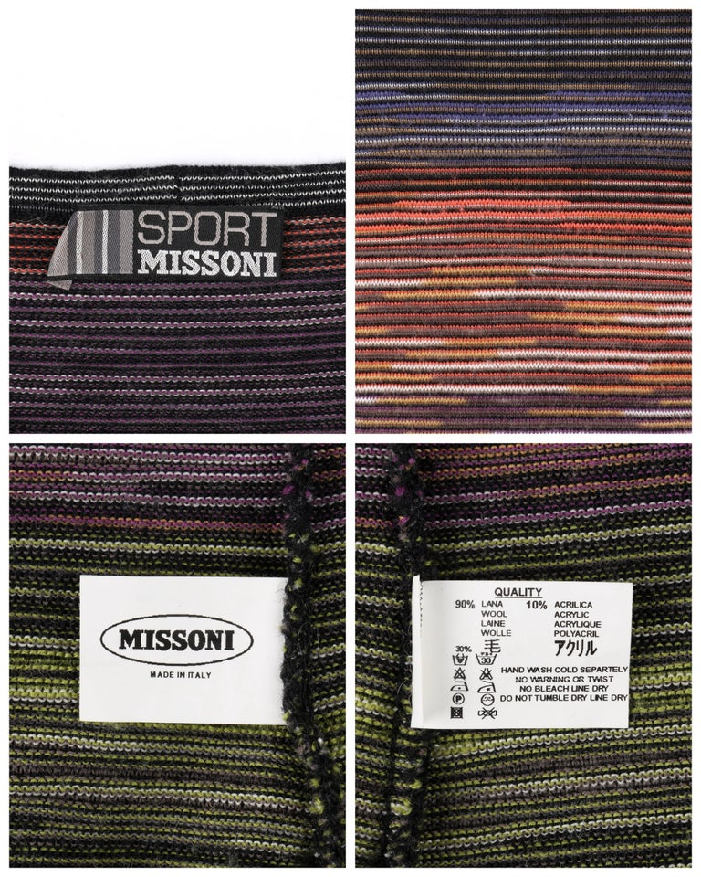 MISSONI Sport Rainbow Striped Wool Knit Long Sleeve Crew Neck Top For Sale 1