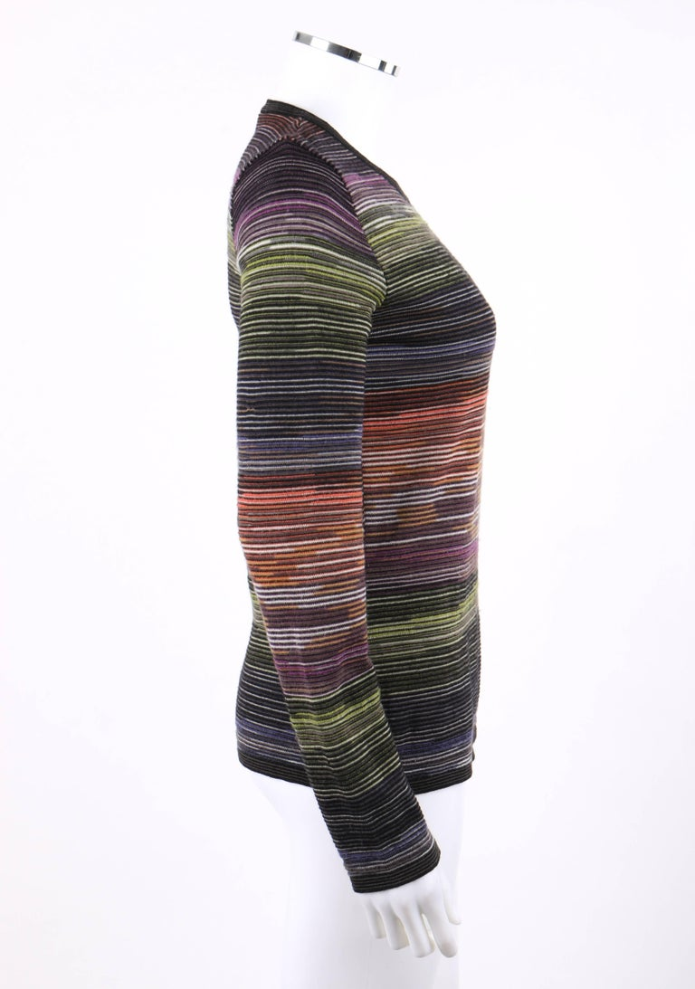 Black MISSONI Sport Rainbow Striped Wool Knit Long Sleeve Crew Neck Top For Sale