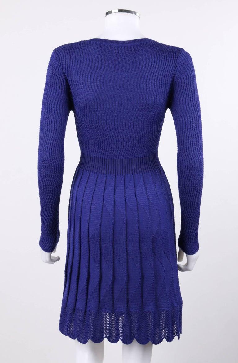 Missoni Royal Blue Wool Rib Knit Long Sleeve Pleated Shift