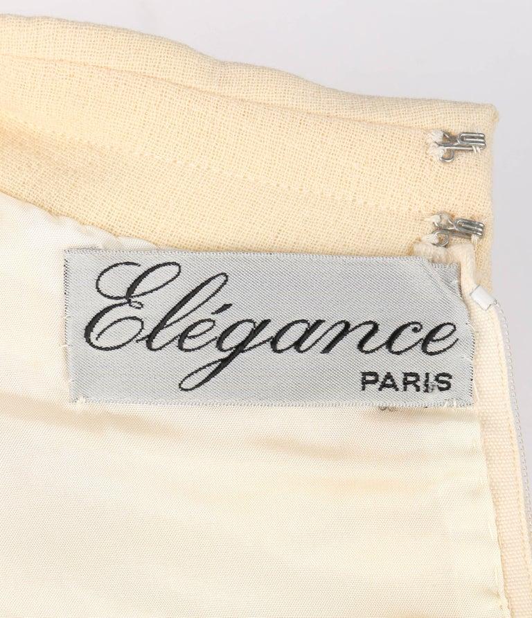 ELEGANCE Paris c.1960's Cream Wool Sleeveless Mod A Line Cocktail Dress For Sale 2